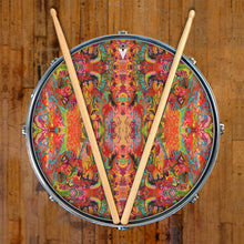 psychedelic, colorful drum skin on snare drum