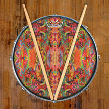 psychedelic, colorful Remo-made drum head on snare drum