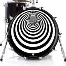 Tunnel graphic drum skin on bass drum head by Visionary Drum; geometric drum art