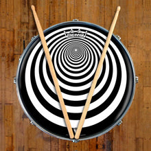 Tunnel Design Remo-Made Graphic Drum Head on Snare Drum; circle pattern drum art