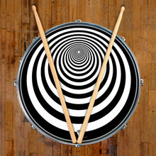 Tunnel graphic drum skin on snare drum head by Visionary Drum; psychedelic drum art