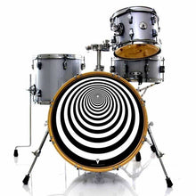 Tunnel graphic drum skin installed on bass drum head and shown on silver drum kit; psychedelic drum art
