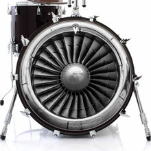 Turbine graphic drum skin on bass drum head by Visionary Drum; airplane drum art