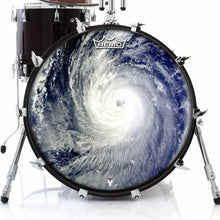 Typhoon Design Remo-Made Graphic Drum Head on Bass Drum; earth from space drum art