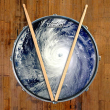 Typhoon Design Remo-Made Graphic Drum Head on Snare Drum; extreme weather drum art