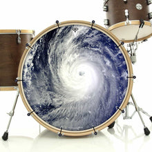 Typhoon bass face drum banner installed on bass drum; spiral nature drum art