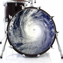 Typhoon graphic drum skin on bass drum head by Visionary Drum; mother earth drum art