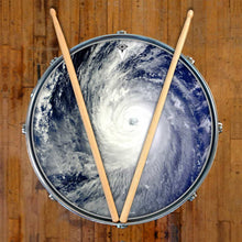 Typhoon graphic drum skin on snare drum head by Visionary Drum; satellite view drum art