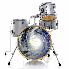 Typhoon graphic drum skin installed on bass drum and shown on silver drum kit; nature drum art
