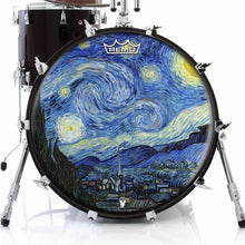 Van Gogh Starry Night Design Remo-Made Graphic Drum Head on Bass Drum; star gazing drum art