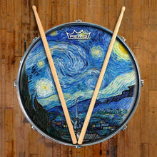 Van Gogh Starry Night Design Remo-Made Graphic Drum Head on Snare Drum; night sky drum art