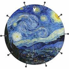 Van Gogh Starry Night bass face drum banner by Visionary Drum; night sky drum art