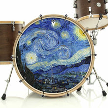 Van Gogh Starry Night bass face drum banner installed on bass drum; blue drum art