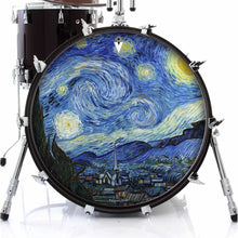 Van Gogh Starry Night graphic drum skin on bass drum head by Visionary Drum; night sky drum art