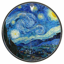 Van Gogh Starry Night graphic drum skin installed on bass drum head by Visionary Drum; star light drum art