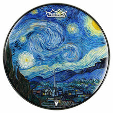 Van Gogh Starry Night Design Remo-Made Graphic Drum Head by Visionary Drum; nature painting drum art