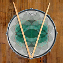 Vesica Spin Design Remo-Made Graphic Drum Head on Snare Drum; green circle drum art