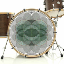 Vesica Spin bass face drum banner installed on bass drum; visionary drum art
