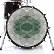 Vesica Spin graphic drum skin on bass drum by Visionary Drum; circle pattern drum art