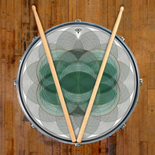 Vesica Spin graphic drum skin on snare drum by Visionary Drum; green drum art