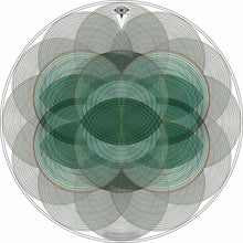 Vesica Spin design graphic drum skin by Visionary Drum; sacred geometry drum art