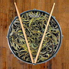 Vines Design Remo-Made Graphic Drum Head on Snare Drum; green drum art