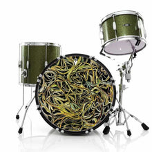 Vines graphic drum skin installed on bass drum head and shown on green drum kit; tangled vine drum art