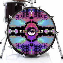 Visionary Expansion graphic drum skin on bass drum by Visionary Drum; eye drum art