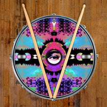 Visionary Expansion graphic drum skin on snare drum by Visionary Drum; purple drum art