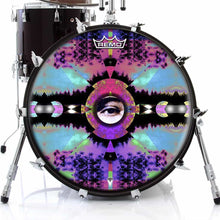Visionary Expansion Design Remo-Made Graphic Drum Head on Bass Drum; abstract drum art