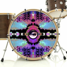 Visionary Expansion bass face drum banner installed on drum kit; aqua pattern drum art