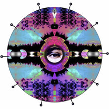 Visionary Expansion bass face drum banner by Visionary Drum; purple pattern drum art