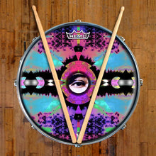 Visionary Expansion Design Remo-Made Graphic Drum Head on Snare Drum; visionary drum art