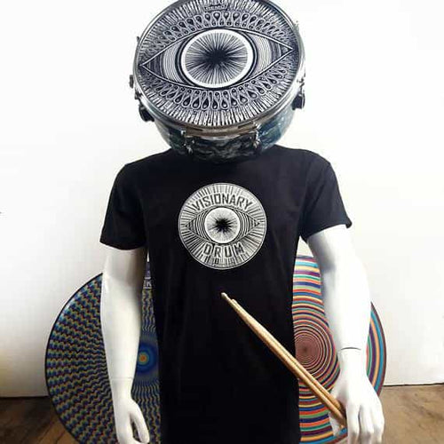 Visionary Drum glow in the dark logo t-shirt on mannequin