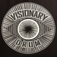 Closeup of Visionary Drum Eye design logo
