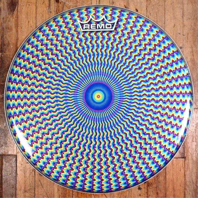 Psychedelic bass drum head made by remo with art by Visionary Drum.