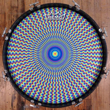 Psychedelic bass drum head made by remo with art by Visionary Drum, on drum.