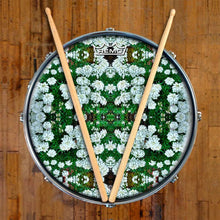 White Flowers Design Remo-Made Graphic Drum Head on Snare Drum; green drum art