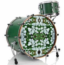 White Flowers graphic drum skin installed on green bass drum head by Visionary Drum; meditation drum art