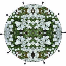 White Flowers bass face drum banner by Visionary Drum; white pattern drum art