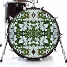 White Flowers graphic drum skin on bass drum head by Visionary Drum; green nature drum art