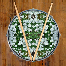 White Flowers graphic drum skin on snare drum head by Visionary Drum; nature mandala drum art