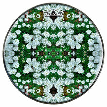 White Flowers Design Remo-Made Graphic Drum Head by Visionary Drum; nature drum art