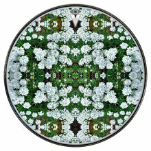 White Flowers graphic drum skin installed on bass drum head by Visionary Drum; flower mandala drum art