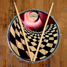 Woodgrain Whirlpool Design Remo-Made Graphic Drum Head on Snare Drum; geometric pattern drum art