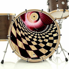 Woodgrain Whirlpool bass face drum banner installed on bass drum; visionary drum art