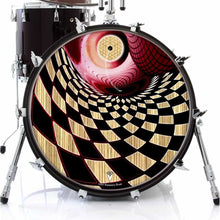 Woodgrain Whirlpool graphic drum skin on bass drum head by Visionary Drum; abstract drum art
