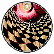 Woodgrain Whirlpool graphic drum skin installed on bass drum head by Visionary Drum; psychedelic drum art
