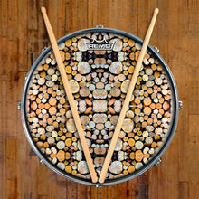Woodpile Design Remo-Made Graphic Drum Head on Snare Drum; tree drum art