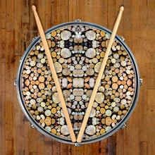 Woodpile graphic drum skin on snare drum head by Visionary Drum; earth tone drum art